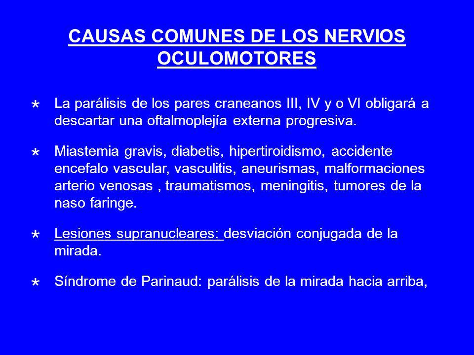 CAUSAS COMUNES DE LOS NERVIOS OCULOMOTORES