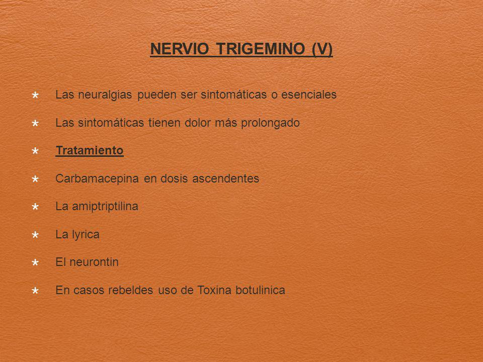 NERVIO TRIGEMINO (V) Las neuralgias pueden ser sintomáticas o esenciales. Las sintomáticas tienen dolor más prolongado.