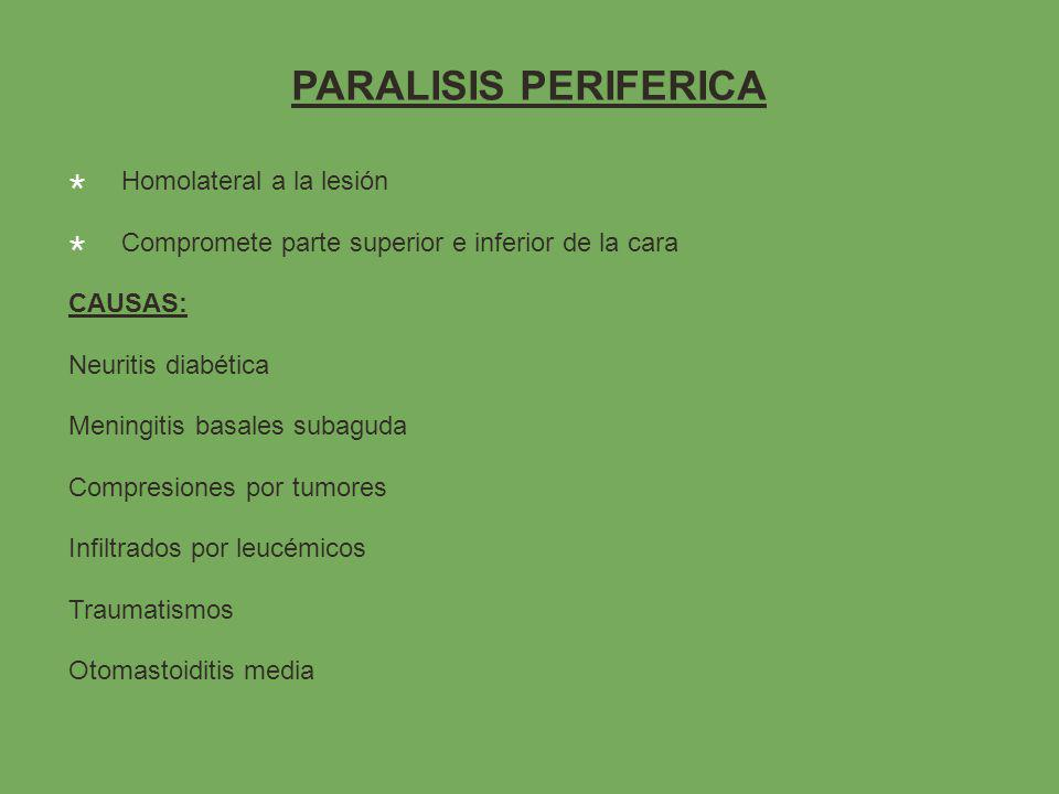 PARALISIS PERIFERICA Homolateral a la lesión