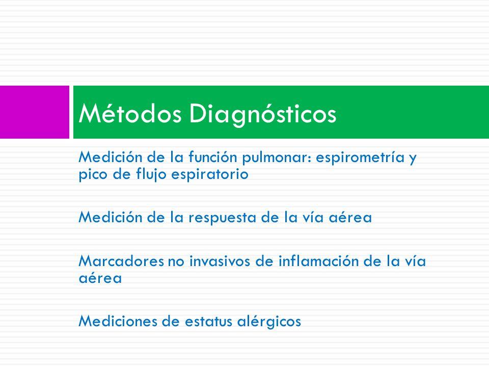 Métodos Diagnósticos Medición de la función pulmonar: espirometría y pico de flujo espiratorio. Medición de la respuesta de la vía aérea.
