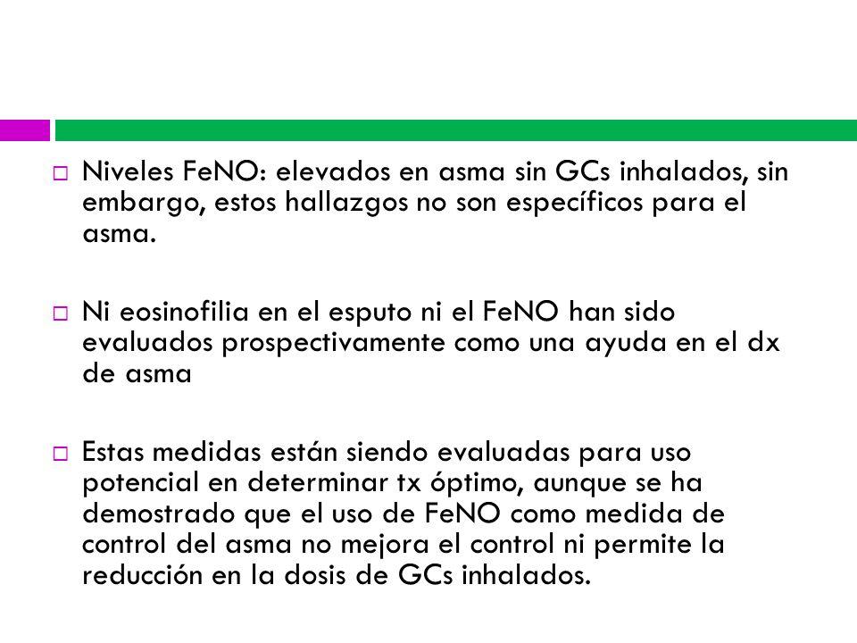 Niveles FeNO: elevados en asma sin GCs inhalados, sin embargo, estos hallazgos no son específicos para el asma.