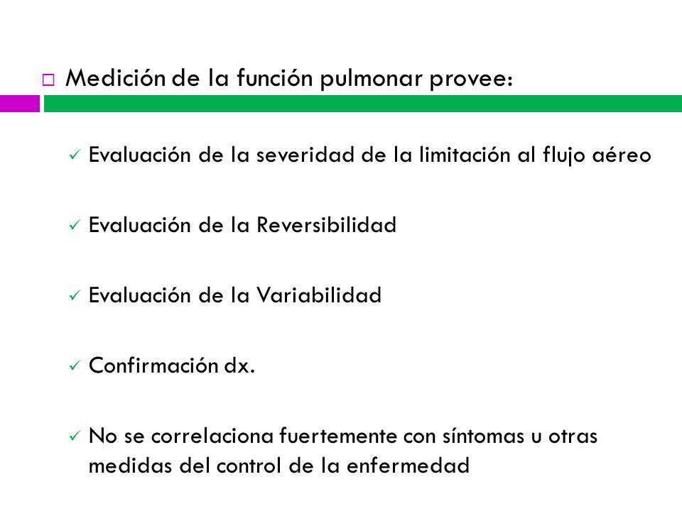 Medición de la función pulmonar provee: