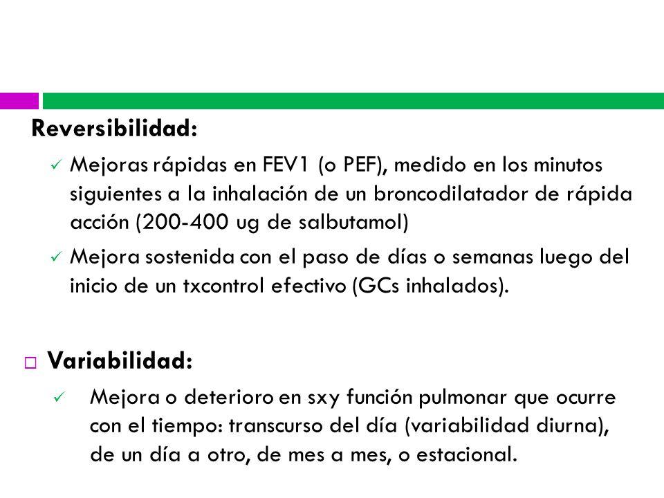 Reversibilidad: Variabilidad: