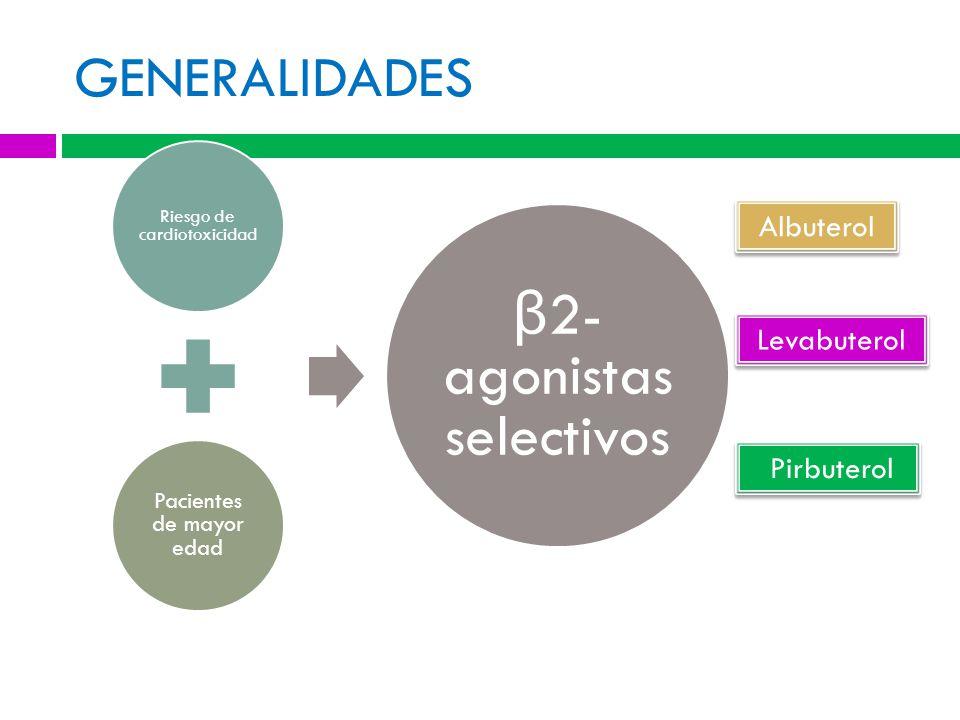 GENERALIDADES Albuterol Levabuterol Pirbuterol Pacientes de mayor edad