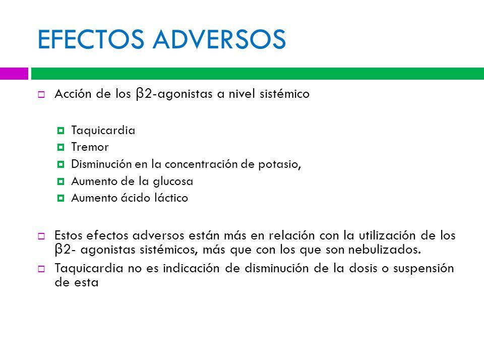 EFECTOS ADVERSOS Acción de los β2-agonistas a nivel sistémico