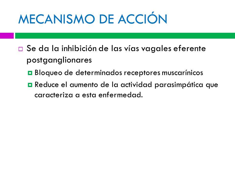 MECANISMO DE ACCIÓN Se da la inhibición de las vías vagales eferente postganglionares. Bloqueo de determinados receptores muscarínicos.