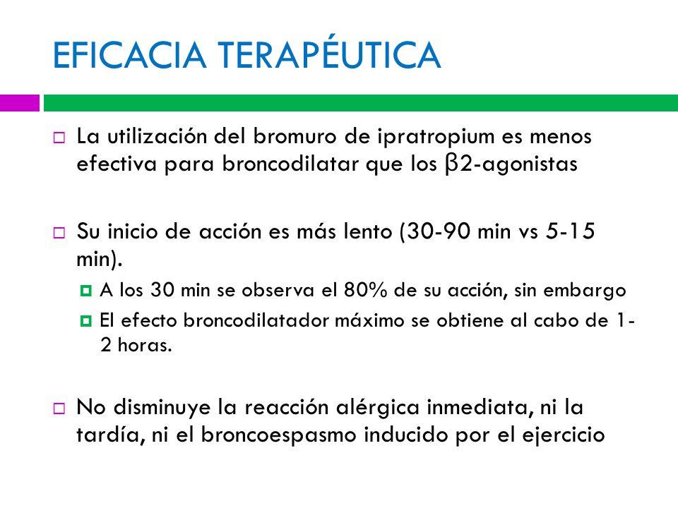 EFICACIA TERAPÉUTICA La utilización del bromuro de ipratropium es menos efectiva para broncodilatar que los β2-agonistas.
