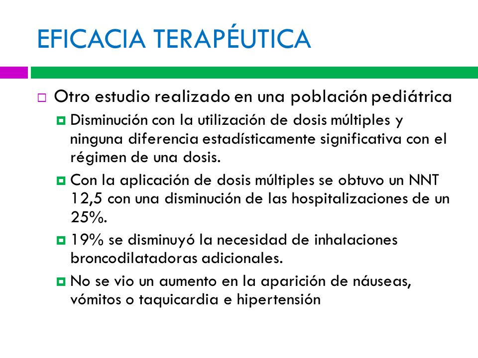 EFICACIA TERAPÉUTICA Otro estudio realizado en una población pediátrica.