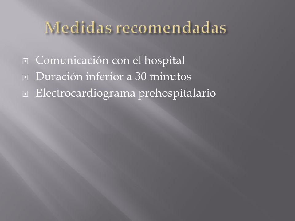 Medidas recomendadas Comunicación con el hospital