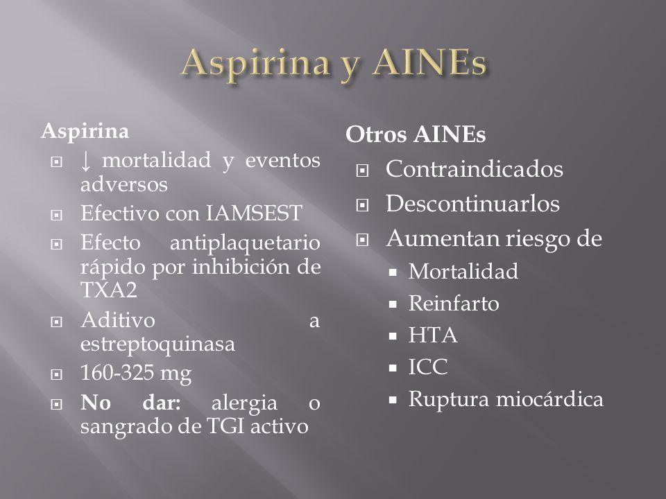 Aspirina y AINEs Otros AINEs Contraindicados Descontinuarlos