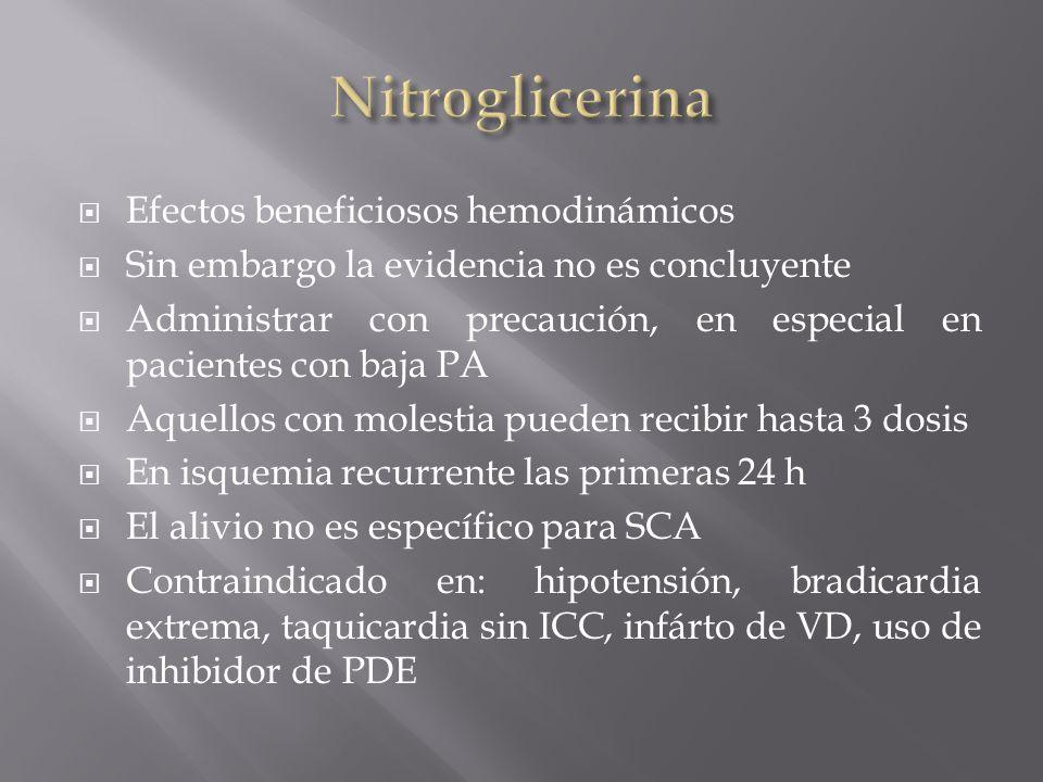 Nitroglicerina Efectos beneficiosos hemodinámicos