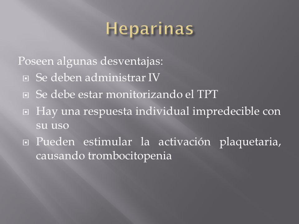 Heparinas Poseen algunas desventajas: Se deben administrar IV