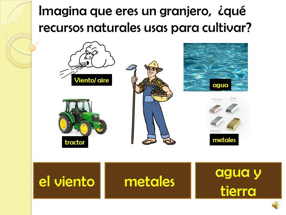 Imagina que eres un granjero, ¿qué recursos naturales usas para cultivar