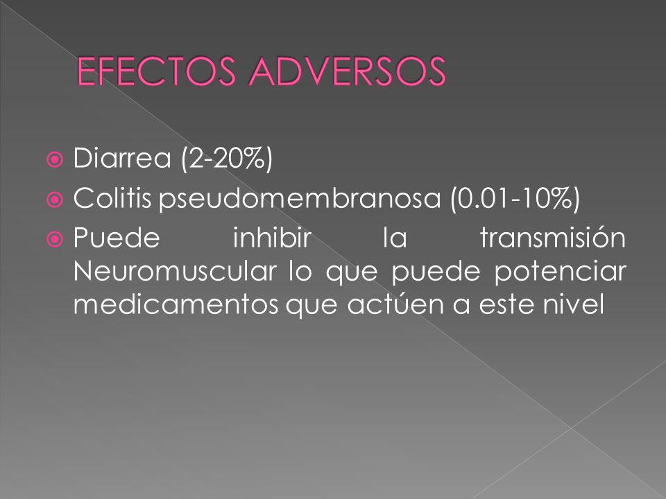 EFECTOS ADVERSOS Diarrea (2-20%) Colitis pseudomembranosa (0.01-10%)