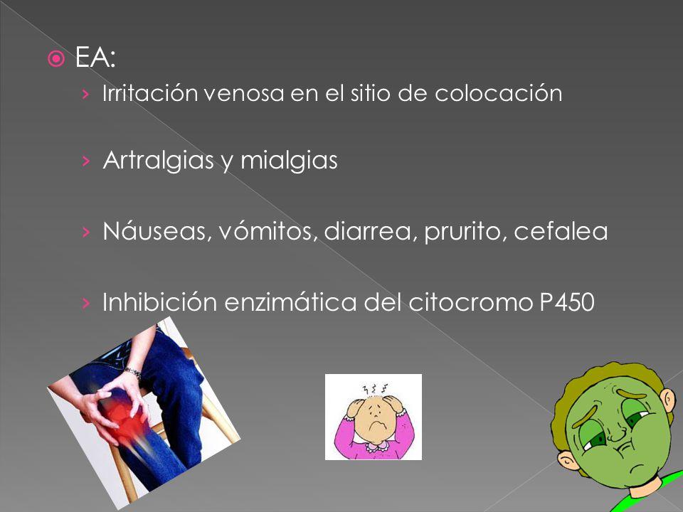 EA: Artralgias y mialgias Náuseas, vómitos, diarrea, prurito, cefalea
