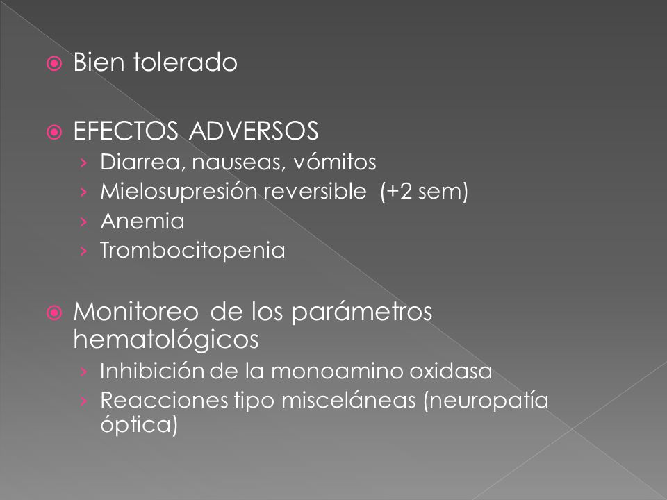 Monitoreo de los parámetros hematológicos