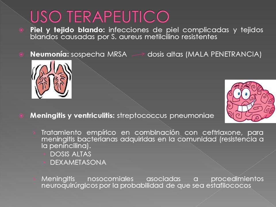 USO TERAPEUTICO Piel y tejido blando: infecciones de piel complicadas y tejidos blandos causadas por S. aureus metilcilino resistentes.