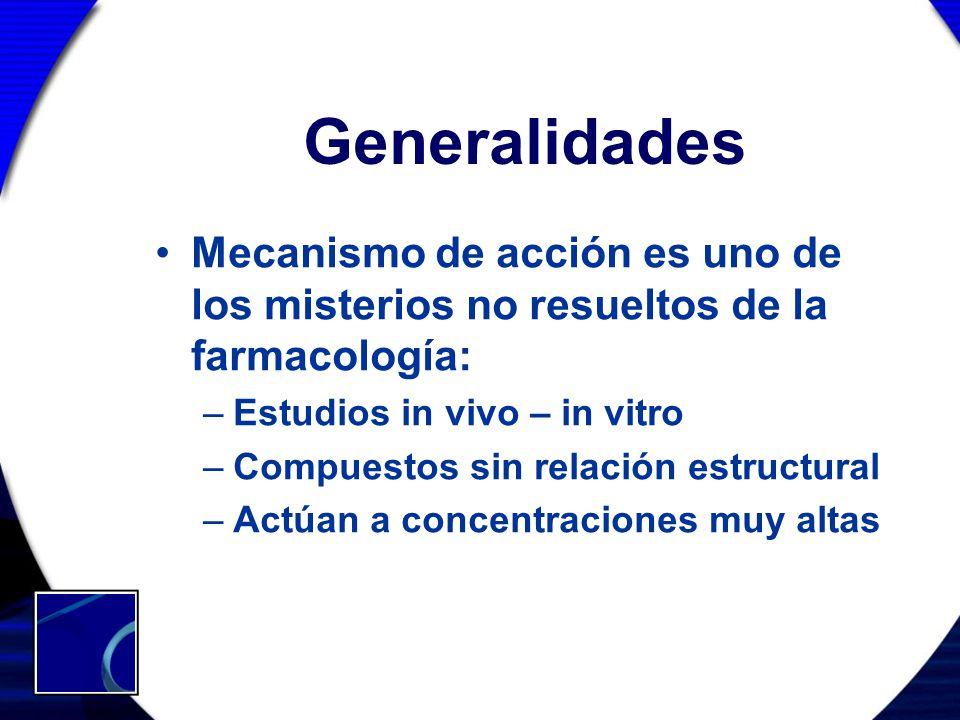 Generalidades Mecanismo de acción es uno de los misterios no resueltos de la farmacología: Estudios in vivo – in vitro.