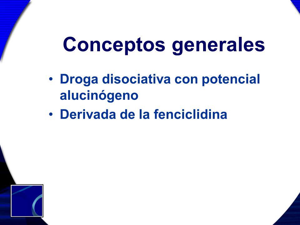 Conceptos generales Droga disociativa con potencial alucinógeno