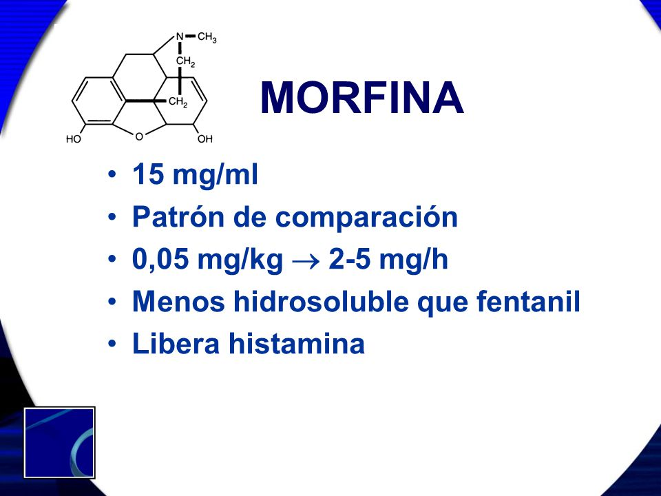 MORFINA 15 mg/ml Patrón de comparación 0,05 mg/kg  2-5 mg/h