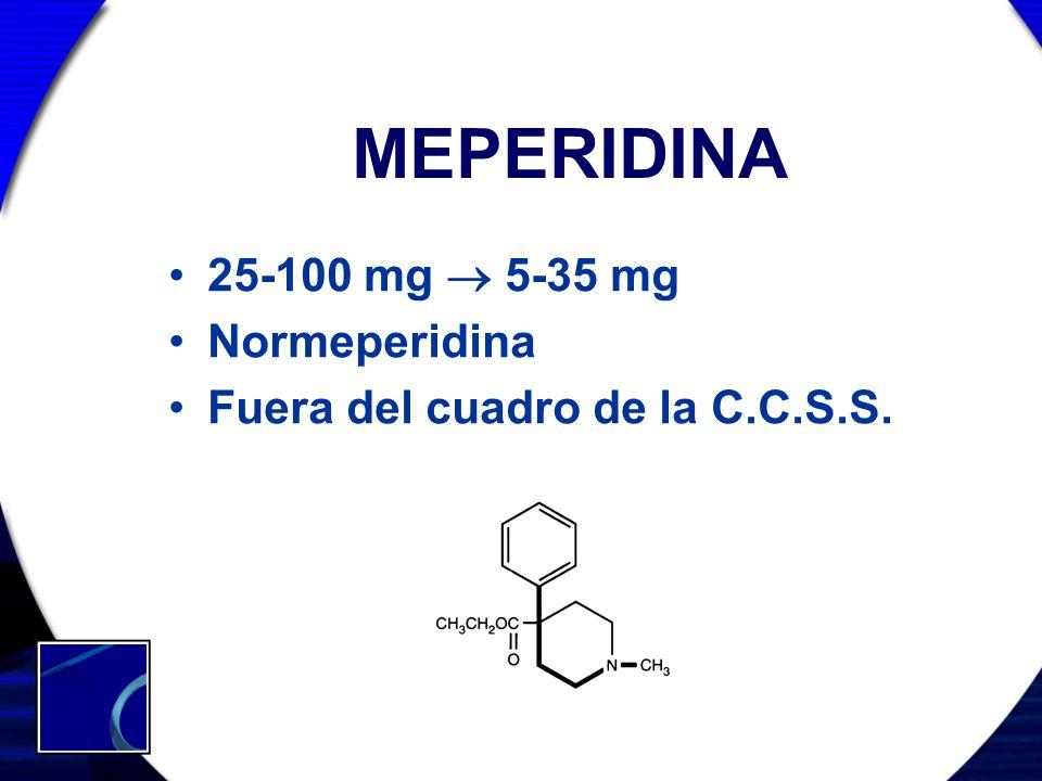 MEPERIDINA 25-100 mg  5-35 mg Normeperidina