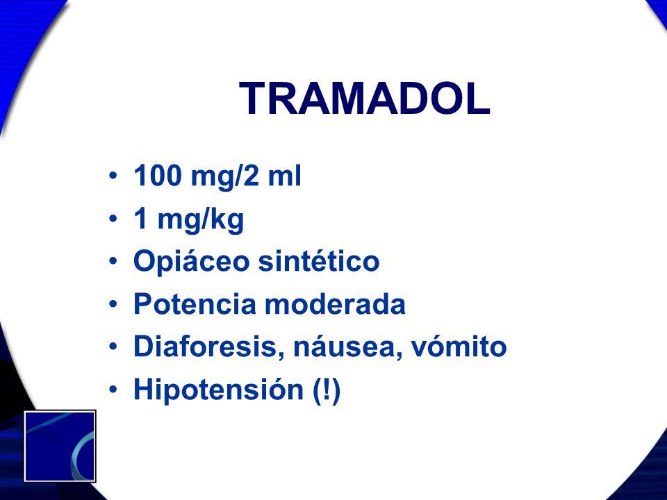 TRAMADOL 100 mg/2 ml 1 mg/kg Opiáceo sintético Potencia moderada