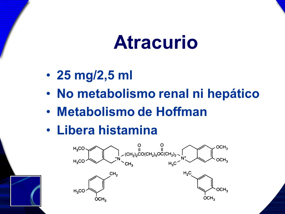 Atracurio 25 mg/2,5 ml No metabolismo renal ni hepático