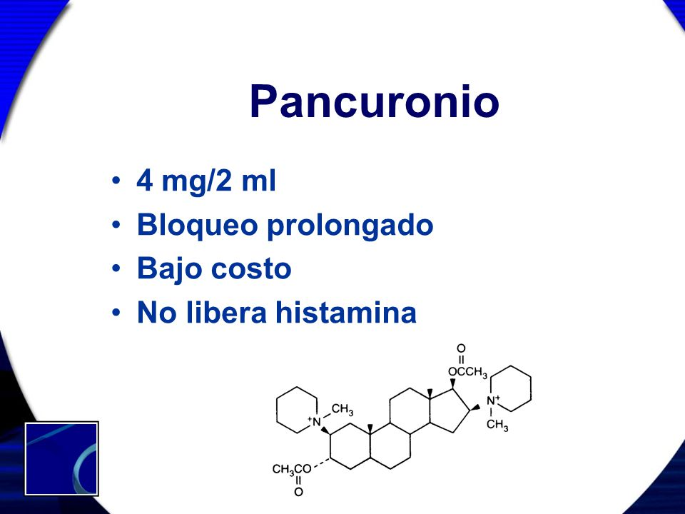 Pancuronio 4 mg/2 ml Bloqueo prolongado Bajo costo No libera histamina
