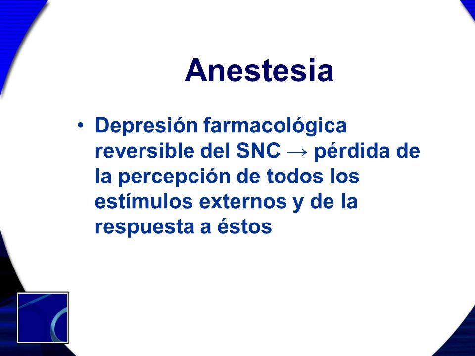 Anestesia Depresión farmacológica reversible del SNC → pérdida de la percepción de todos los estímulos externos y de la respuesta a éstos.