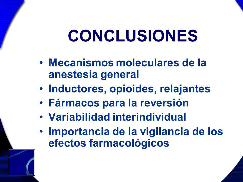 CONCLUSIONES Mecanismos moleculares de la anestesia general