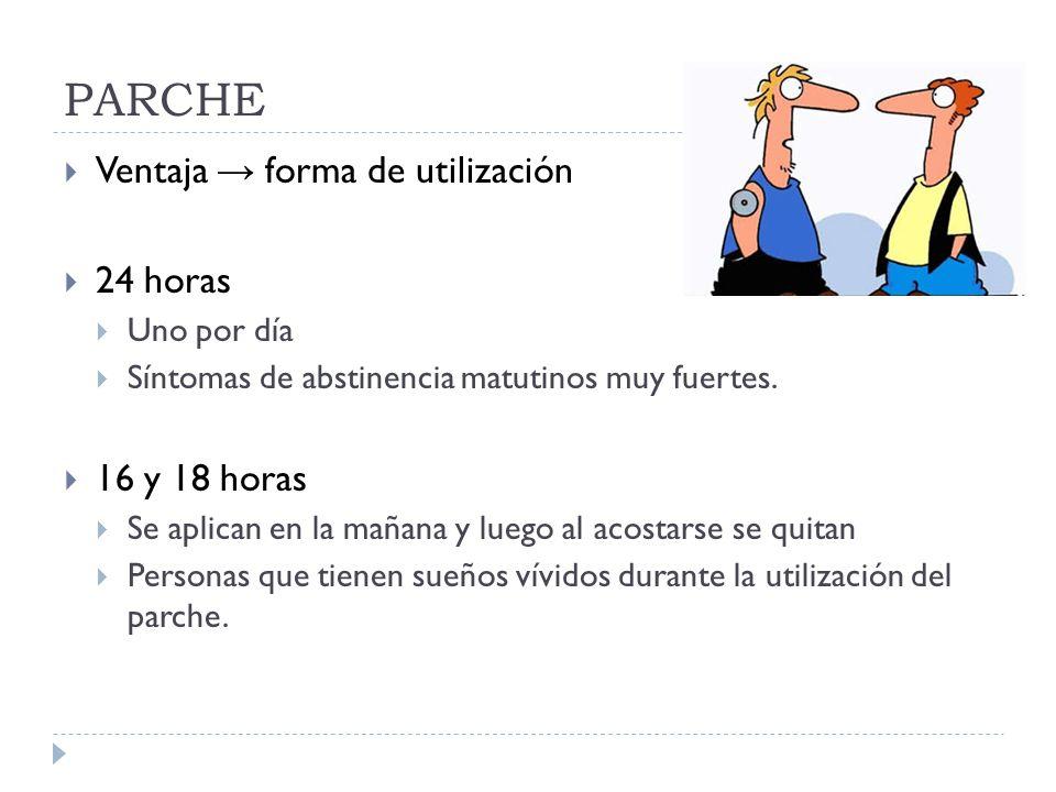 PARCHE Ventaja → forma de utilización 24 horas 16 y 18 horas