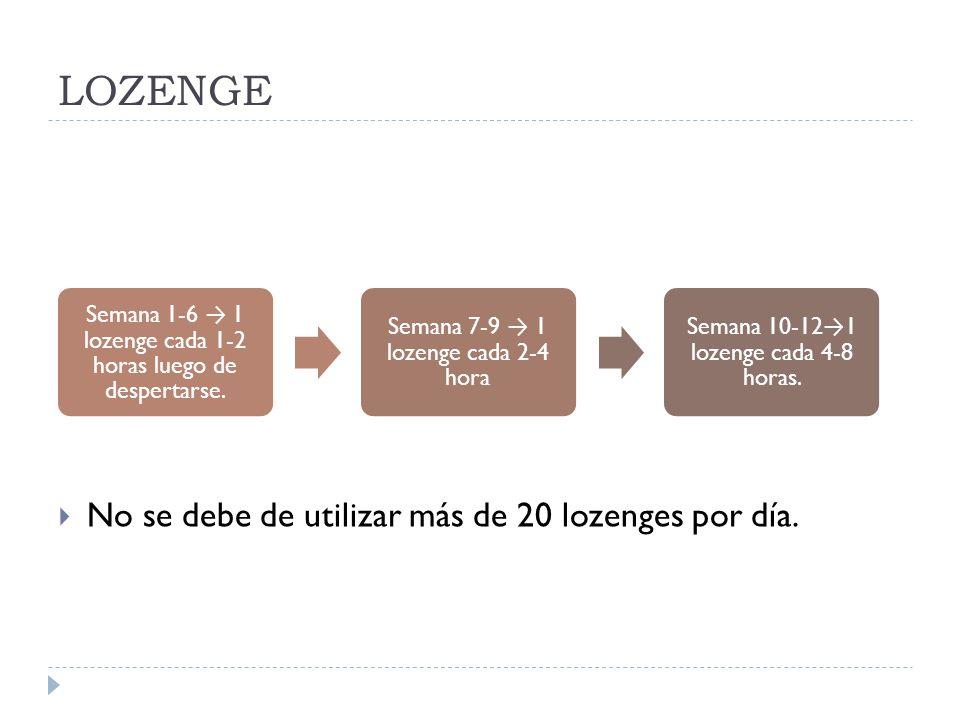 LOZENGE No se debe de utilizar más de 20 lozenges por día.