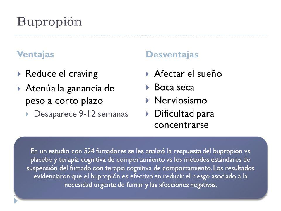 Bupropión Reduce el craving Afectar el sueño