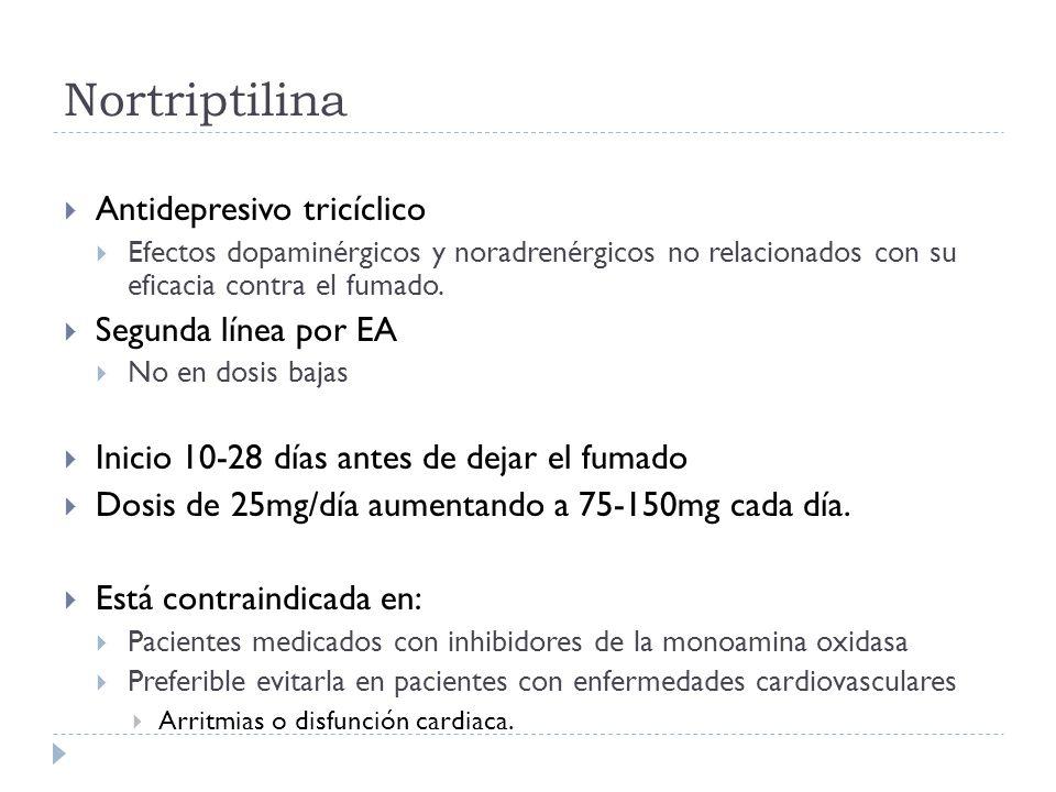 Nortriptilina Antidepresivo tricíclico Segunda línea por EA