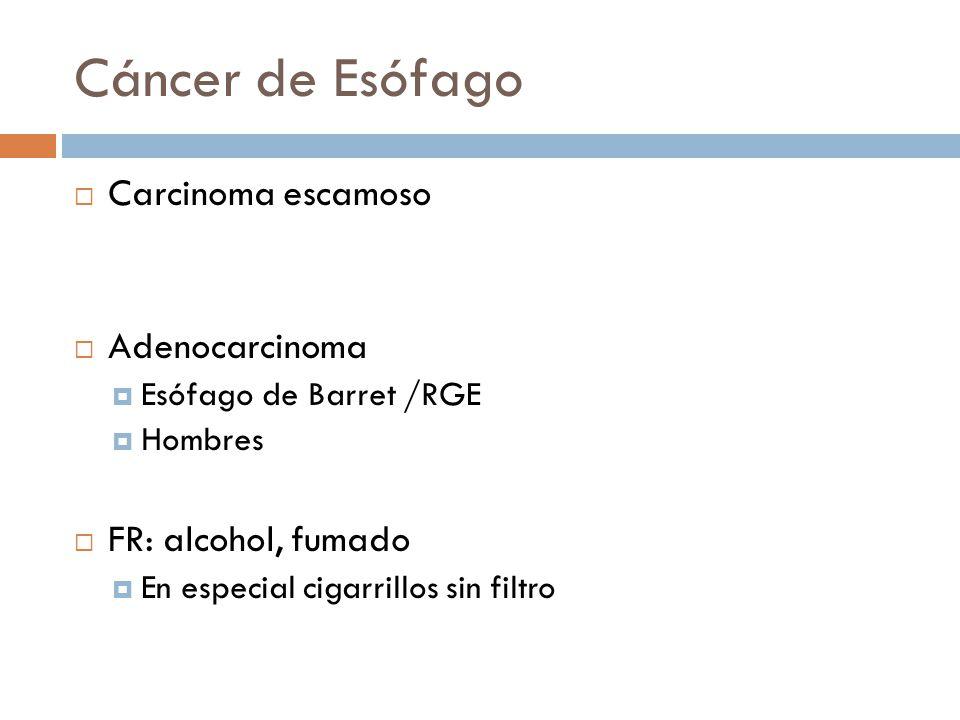 Cáncer de Esófago Carcinoma escamoso Adenocarcinoma