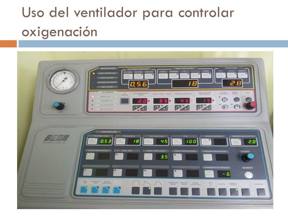 Uso del ventilador para controlar oxigenación