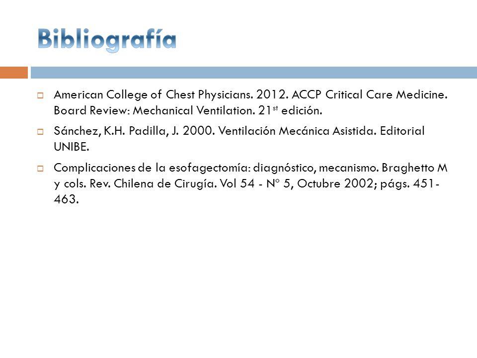 Bibliografía American College of Chest Physicians. 2012. ACCP Critical Care Medicine. Board Review: Mechanical Ventilation. 21st edición.