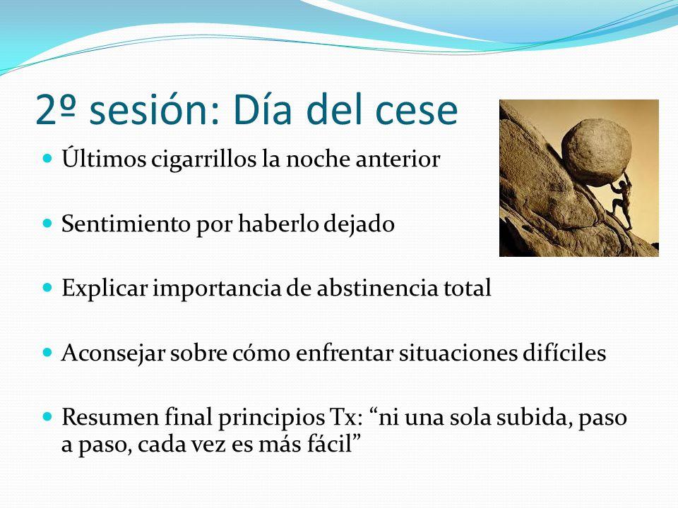 2º sesión: Día del cese Últimos cigarrillos la noche anterior