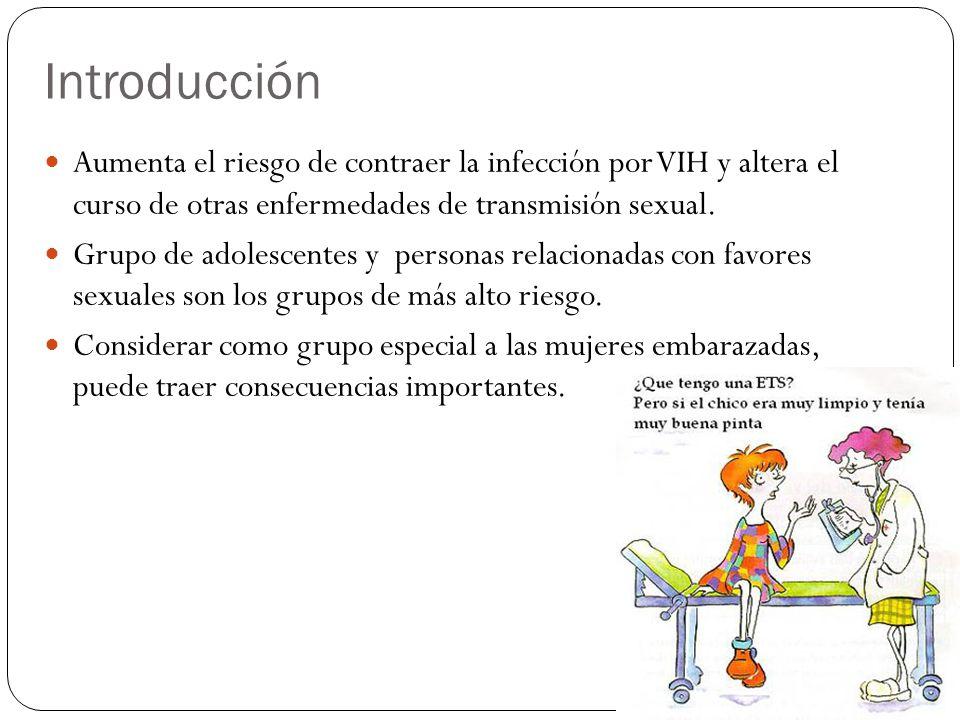 Introducción Aumenta el riesgo de contraer la infección por VIH y altera el curso de otras enfermedades de transmisión sexual.