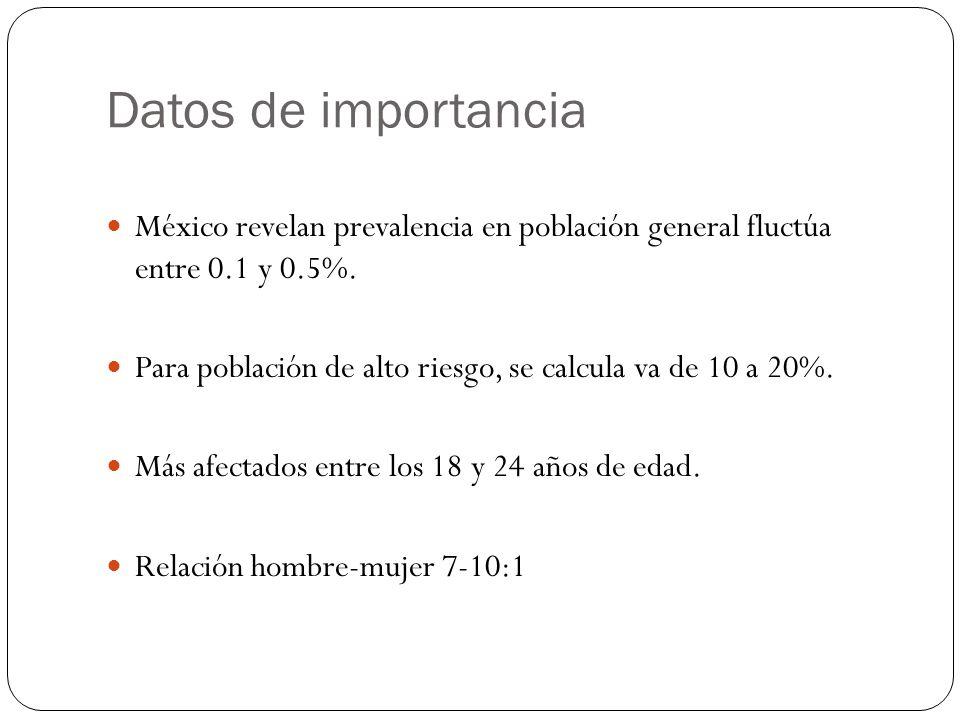 Datos de importancia México revelan prevalencia en población general fluctúa entre 0.1 y 0.5%.