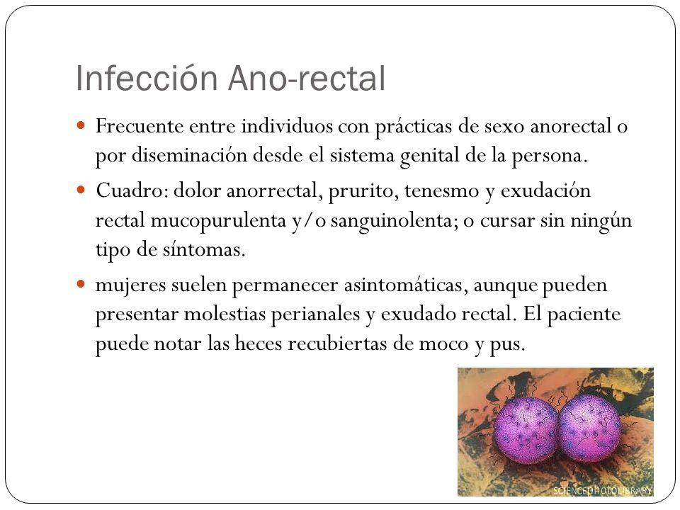 Infección Ano-rectal Frecuente entre individuos con prácticas de sexo anorectal o por diseminación desde el sistema genital de la persona.