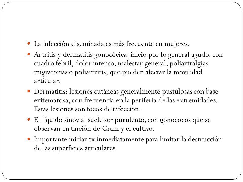 La infección diseminada es más frecuente en mujeres.