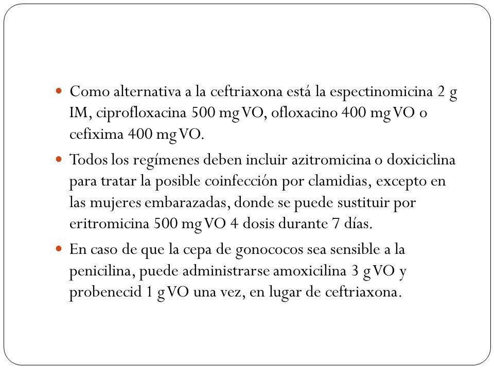 Como alternativa a la ceftriaxona está la espectinomicina 2 g IM, ciprofloxacina 500 mg VO, ofloxacino 400 mg VO o cefixima 400 mg VO.