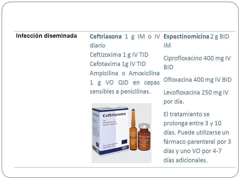 Ceftriaxona 1 g IM o IV diario Ceftizoxima 1 g IV TID