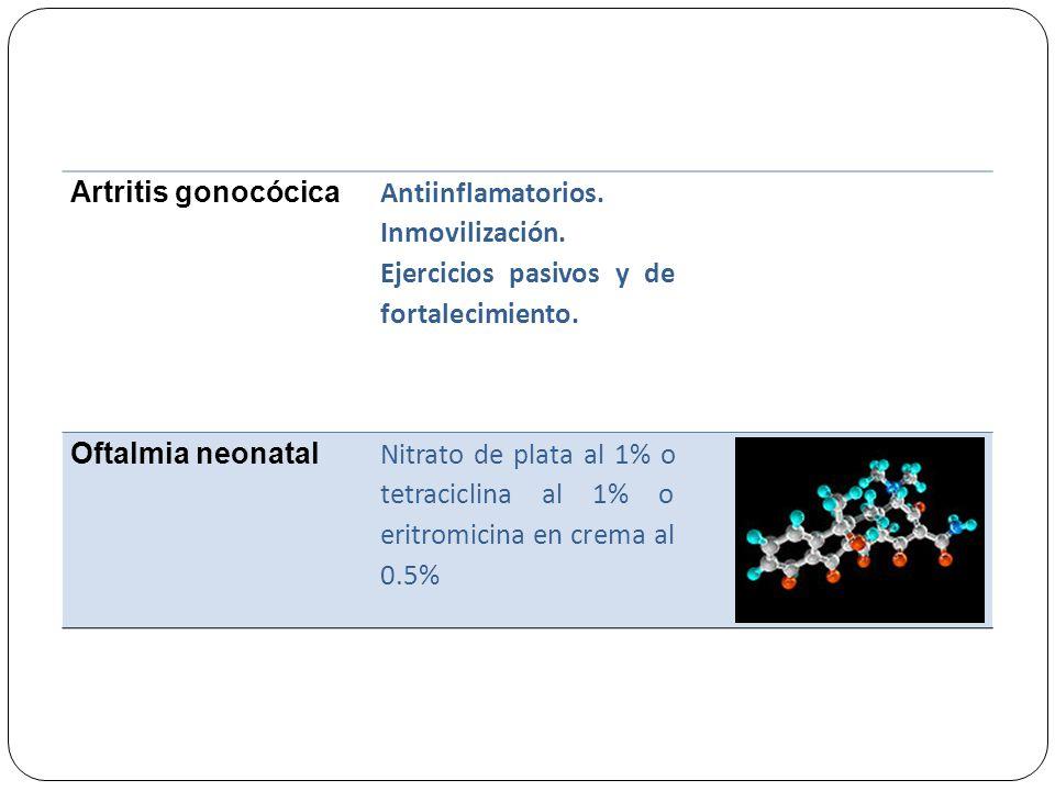 Artritis gonocócica Antiinflamatorios. Inmovilización. Ejercicios pasivos y de fortalecimiento. Oftalmia neonatal.