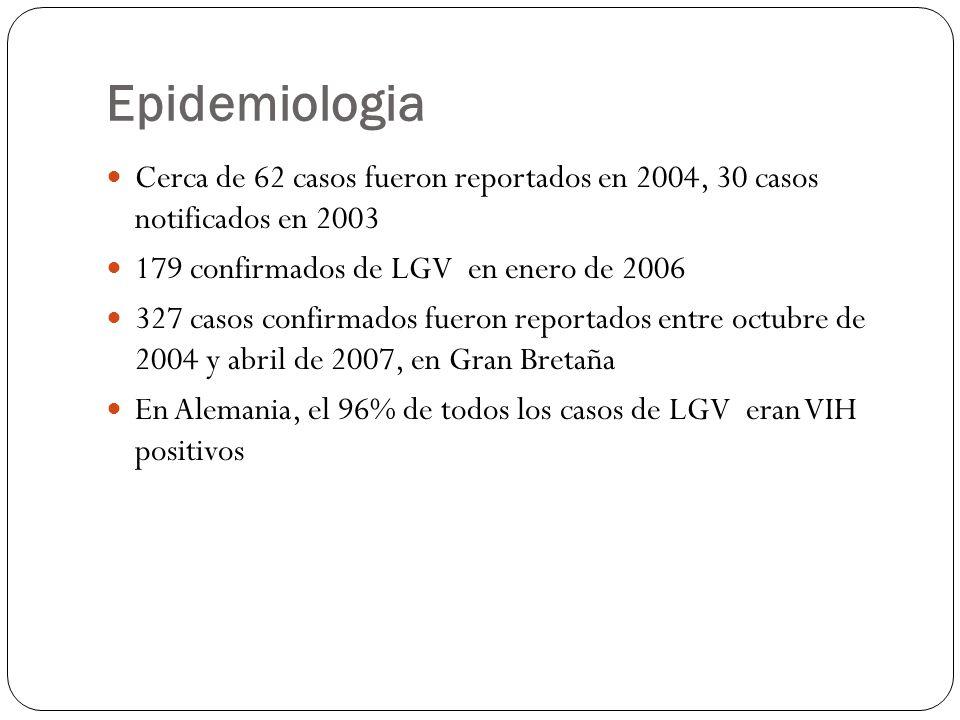 Epidemiologia Cerca de 62 casos fueron reportados en 2004, 30 casos notificados en 2003. 179 confirmados de LGV en enero de 2006.