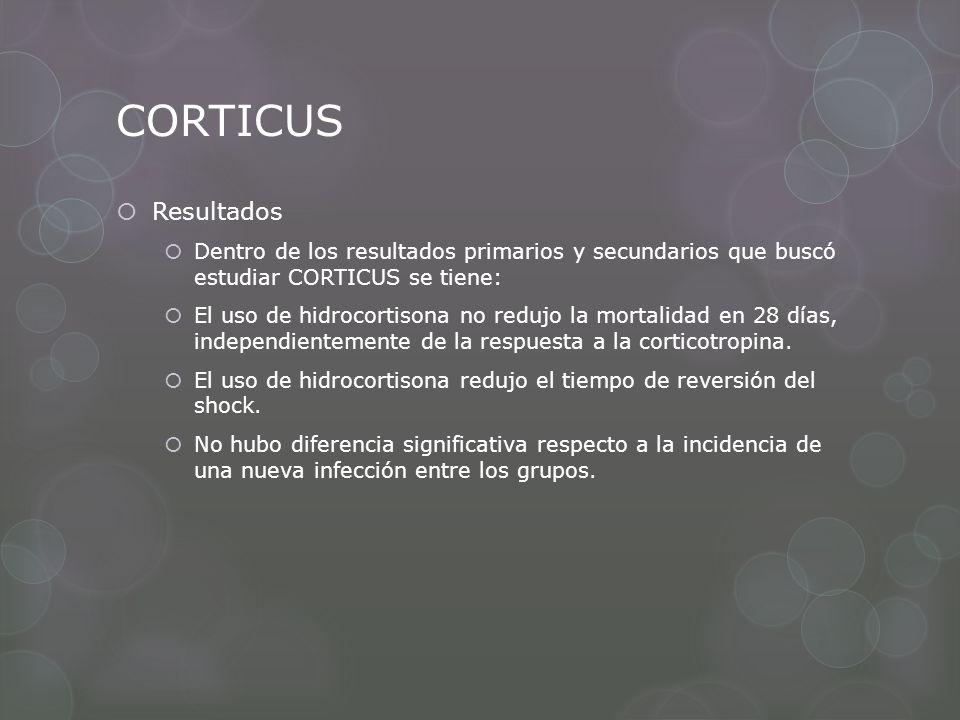 CORTICUS Resultados. Dentro de los resultados primarios y secundarios que buscó estudiar CORTICUS se tiene: