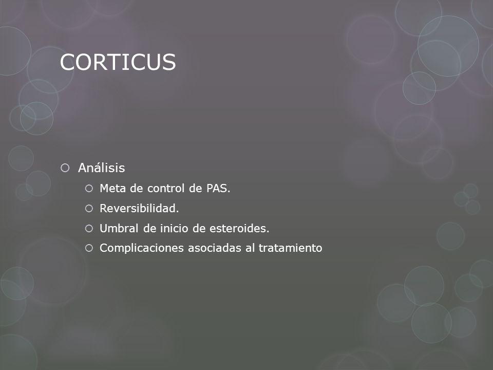 CORTICUS Análisis Meta de control de PAS. Reversibilidad.