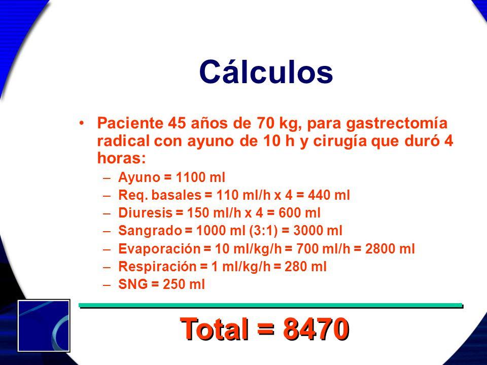Cálculos Paciente 45 años de 70 kg, para gastrectomía radical con ayuno de 10 h y cirugía que duró 4 horas: