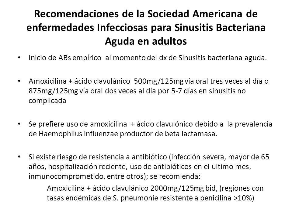 Recomendaciones de la Sociedad Americana de enfermedades Infecciosas para Sinusitis Bacteriana Aguda en adultos